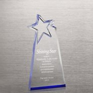 Reflective Blue Acrylic Star Award -  Rectangle